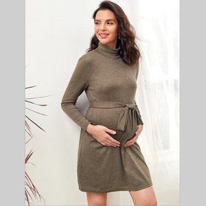 NWT Maternity dress brown funnel neck belted